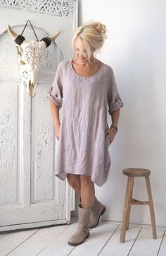 SUMMER SMILE Linen tunic, SAND