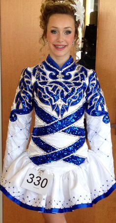 Gorgeous white and blue solo dress