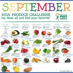 The Produce Mom® – September Fruit & Veggie Challenge Calendar