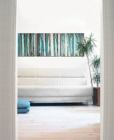 """Abstract painting - Blue striped (3 in a row) - Modern Acrylic Art - 19.7"""" x 59"""" Ronald Hunter paintings. $329.00, via Etsy.:"""