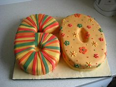 60th birthday cake - but different colours and patterns