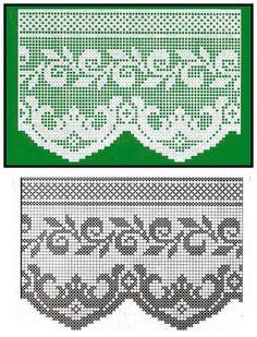 World crochet: Crocheted lace 31 Crochet Patterns Filet, Crochet Lace Edging, Crochet Borders, Crochet Flower Patterns, Crochet Diagram, Crochet Designs, Crochet Doilies, Crocheted Lace, Crochet Home