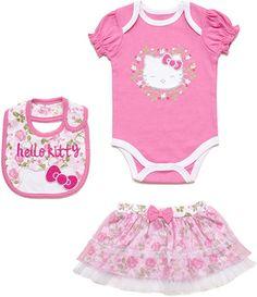 ca8509508f30 Amazon.com  Hello Kitty Baby Girls  100% Cotton 3 Piece Skirt Set (0-3  Months