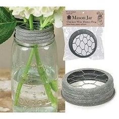Flower frog that fits any standard Mason jar. Features chicken wire on top to create a rustic and functional flower frog. (Jar is not included. Diy Hanging Shelves, Diy Wall Shelves, Glass Shelves, Mason Jar Projects, Mason Jar Crafts, Diy Crafts Vases, Diy Home Decor Projects, Diy Projects To Try, Craft Projects