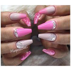 Pink ombré coffin nails fashion nail design glitter fade art Swarovski designs