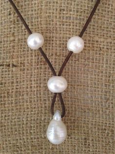 Pearl and Leather Drop Necklace