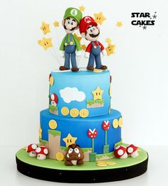 super mario bros 2 tier cake - Star Cakes Madrid