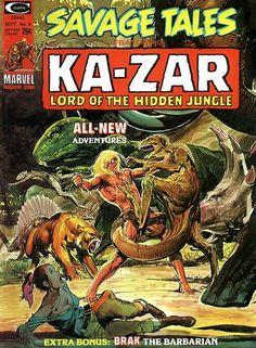 Savage Tales #6. Ka-Zar fights a dinosaur stampede. Cover by Neal Adams.