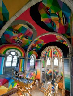 Colorful Geometric Graffiti Murals By Matt Moore Street Art - Artist gives italian kindergarten vibrant fairytale makeover