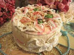 I ❤ ribbonwork . . . Birthday Box. Silk ribbon, sequins and beads, antique lace, organza