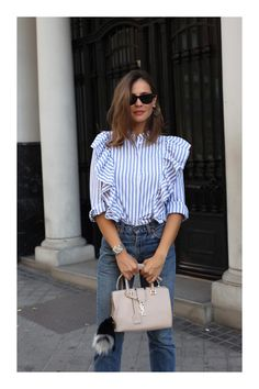 frilly shirt looks - Lady Addict Chic Outfits, Spring Outfits, Fashion Outfits, Fashion Trends, Fashionable Outfits, Look Fashion, Autumn Fashion, Frilly Shirt, Casual Chique