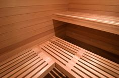 The low-down on sauna design and construction. Scandinavian Saunas, Mobile Sauna, Home Gym Basement, Cedar Walls, Outdoor Sauna, Sauna Design, Recessed Ceiling Lights, Floor Drains, Master Bath Remodel