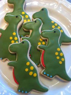Dinosaur cookies~       by Heidissweetshoppe on Etsy, $24.00, Green