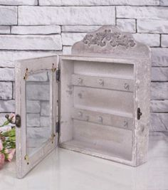Shabby-Chic-De-Madera-clave-rack-o-gabinete-de-madera-en-bruto-Rustico-Gris-1