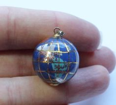 Vintage Enamel Globe Earth Orb Planet Pendant #Pendant
