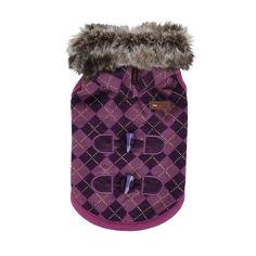 PUPPIA Authentic Argyle Mode Hooded Winter Coat for Pets, Large, Purple -- For more information, visit image link. (This is an affiliate link and I receive a commission for the sales)