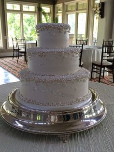 Pearl topped wedding cake.