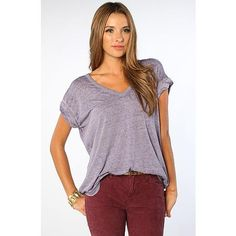 Free People Women's The Keep Me V Neck Tee in Purple Power, T-shirts