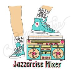 Sorority Social Delta Zeta Jazzercise Retro Mixer 90s South By Sea