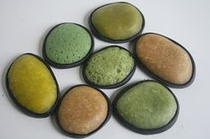 Polymer clay cabochons. Translucent clay colored with Adirondack ink...