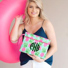 Sometimes the right clutch is all that it takes to pull an outfit together! Whether you are planning a night out with your favorite bridesmaids or getting ready together the morning of your big day, this zippered bag is the perfect size to hold everything you need. Pineapple Design, Pineapple Pattern, Bridesmaid Thank You, Bridesmaid Gifts, Bridesmaids, Party Gift Bags, Wet Bag, Pouch Bag, Zipper Pouch
