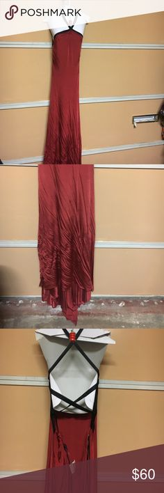 Bebe crisscross gown in crimson red small Brand new from runway bebe Dresses Maxi