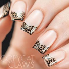 French tip nails are timeless and fun! From sexy nail designs to cute and girly nail art, we have it all! Check out our awesome gallery of French nail art! Nail Art Designs, French Manicure Designs, Chic Nails, Sexy Nails, French Nails, Nagel Hacks, Classic Nails, Stamping Nail Art, Stamping Plates