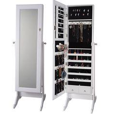 Premium White Cheval Mirror Jewelry Cabinet Armoire Box Stand Organizer Full-size Storage Case