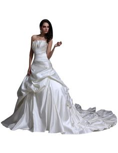 JOLLY BRIDAL Satin Ruffled Cathedral Train Wedding Dress, White, Size 2 JOLLY BRIDAL http://www.amazon.com/dp/B00JIG7QG8/ref=cm_sw_r_pi_dp_mNDZub0KC2MT3
