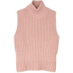 Diesel Black Gold Mespunk Sleeveless Turtle Neck Jumper (£114) ❤ liked on Polyvore featuring tops, sweaters, shirts, crop tops, pink, turtleneck crop top, pink sweater, turtle neck sweater, turtleneck shirt and cropped turtleneck sweater