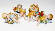 Set 4 Fontanini Italian Depose Figurines Nativity Village Cherubs Angels Italy in Fontanini Nativity, Princess Zelda, Disney Princess, Tinkerbell, Bowser, Disney Characters, Fictional Characters, Italy, Cherubs