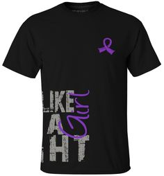 Fight Like a Girl Breast Cancer T-Shirts Grunge Side Wrap Purple Ribbon Fight Like a Girl Shirts for Breast Cancer and More