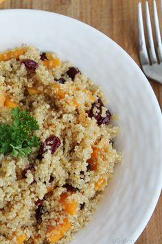 Quinoa Salad with Butternut Squash and Dried Cranberries
