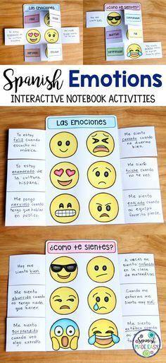 Spanish Emotions interactive notebook activity. #learningspanishlanguage #adultspanishlessons