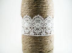 Rustic wedding centerpiece wine bottle with by MorningBugWeddings, $12.00