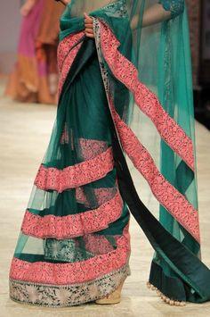 turquoise saree by manish malhotra... LOVE THE COMBIIIIIIIII.