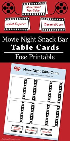 Monday I posted about a Summer Family Movie Night with a snack bar, and these would have been perfect for the table. If you're looking to create your own family movie night spreads, just print out these cards and write your dishes/snacks on them. They will bring a cute polish to your movie-themed table for sure!