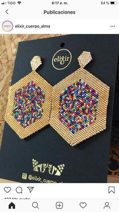 Loom Bracelet Patterns, Seed Bead Patterns, Beaded Jewelry Patterns, Textile Jewelry, Beading Patterns, Diy Seed Bead Earrings, Brick Stitch Earrings, Seed Bead Jewelry, Bead Jewellery
