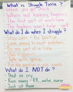 "I LOVE this anchor chart on Struggle Time or Productive Struggle. Students must learn to problem solve and develop strategies for what to do when they are ""stuck""."