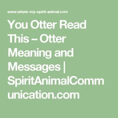 You Otter Read This – Otter Meaning and Messages | SpiritAnimalCommunication.com