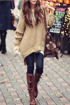 beige oversized sweater pullover blue jeans long boots brown handbag autumn spring style clothing women fashion apparel outfit | More outfits like this on the Stylekick app! Download at http://app.stylekick.com