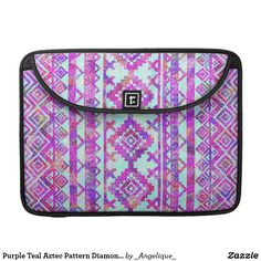 Purple Teal Aztec Pattern Diamond Geometric Mosaic MacBook Pro Sleeve