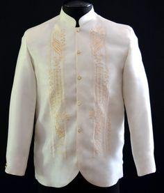Coat Barong Tagalog - Barongs R us Barong Tagalog Wedding, Barong Wedding, Barong Tagalog For Women, Filipiniana Wedding Theme, Modern Filipiniana Dress, Wedding Outfits For Groom, Wedding Shirts, Wedding Dresses, Philippines Fashion