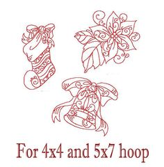 Redwork Christmas Stocking, Bell, Poinsettia Embroidery Patterns - 4x4 and 5x7 Hoop INSTANT DOWNLOAD