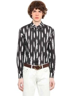 ROBERTO CAVALLI FEATHER PRINTED COTTON JERSEY SHIRT. #robertocavalli #cloth #