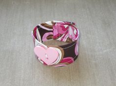 Fabric Bracelet with Heart Button  Pink & by BristowTreasures, $6.00