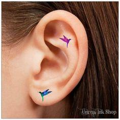 Tatuajes de tatuaje temporal 8 Colibrí oreja dedo tatuajes