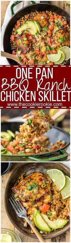 One Pan Cheesy BBQ Ranch Chicken Skillet