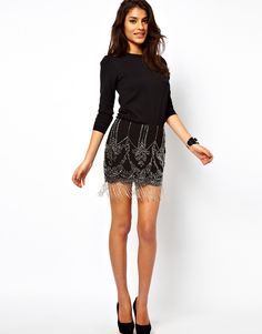 Asos Beaded Skirt with Fringe Detail - Lyst