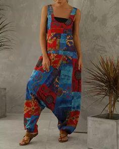 Multicolor Shift Casual Jumpsuit Plus Size Jumpsuit, Blouse Ample, Blouse En Coton, Tie Dye Pants, Loungewear Set, Type Of Pants, Casual Jumpsuit, Drop Crotch, Outerwear Women